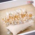 Ручной новый женский корона кристалл бусины золотой лист тиара жемчужные украшения для волос украшения hairband подарки свадебные аксессуары zhenxi