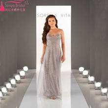 2016 Bridesmaid Dress Sequined With Tulle Elegant Wedding Guest Dress  Sequined Prom Dress  Z016