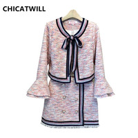 Chic Autumn Winter New 2019 Woman Flare Sleeve Bowtie Tweed Tops Jackets and mini Skirts Office Lady Elegant Women Pink Set