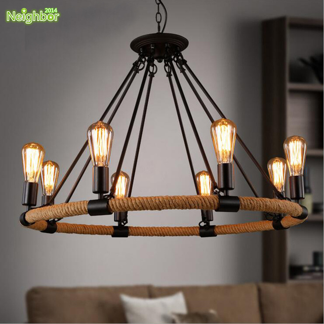 industrie vintage style corde ronde lustre avec filament finition salon entrep t r tro lampe. Black Bedroom Furniture Sets. Home Design Ideas