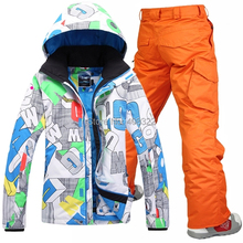 2016 new men's ski suit set Men skiing outdoor winter sportswear snowboard skiing set waterproof and windproof thermal clothing