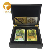 Golden & Silver 100 AUD Plastic Luxury 24K Gold Foil Playing Cards Club Game Poker Cards Plated Deck Gift Come With Wooden Box