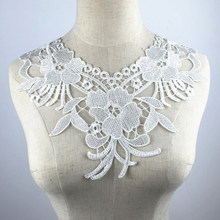 1PCS Flower Lace Collar Applique Neckline Embroidery Designs White Beautiful  Lace Fabric For DIY Collar Women Clothing Sewing 98aa4c80d42a