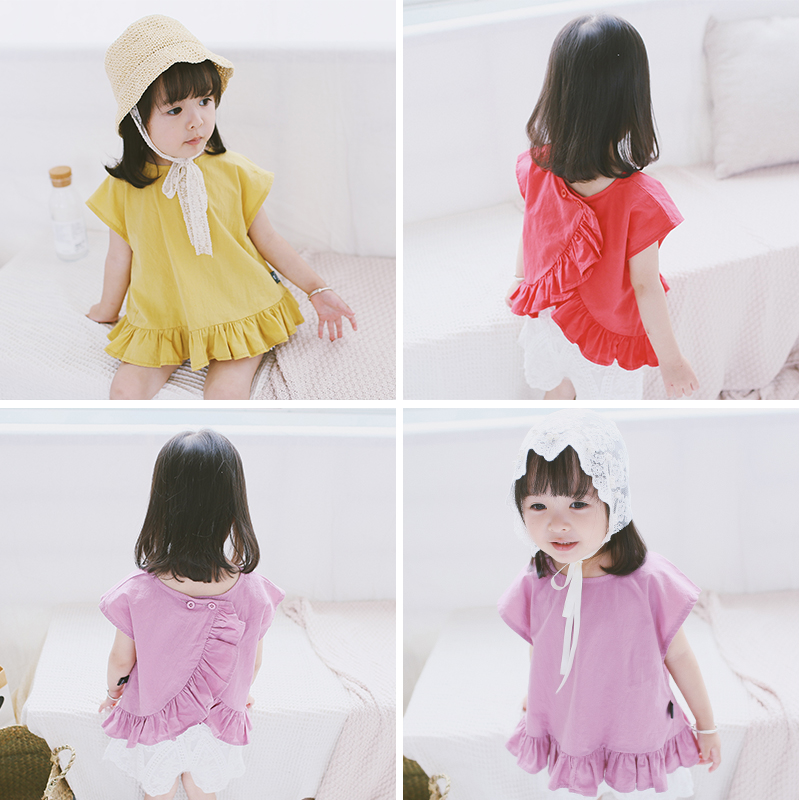 Summer Girls Buttons Short Sleeves Cothes Children Pure Cotton T-shirts Baby Solid Color Tops