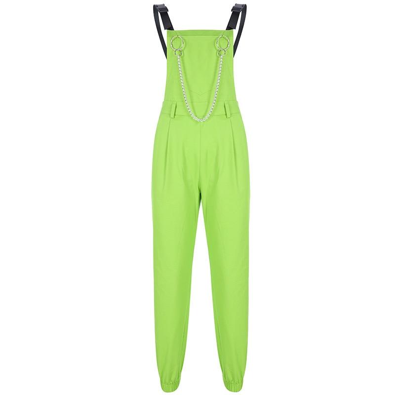 2019 Fashion Neon Women Overalls Safari Style Women Pants Personality Chain Women Long Pants Moto Street Wear Femme Pantalon in Pants amp Capris from Women 39 s Clothing