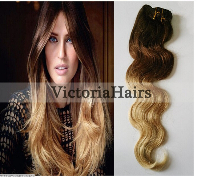 Hot Queen In Stock Ombre Human Hair Extensions Wavy 7pcsset 70g 5a