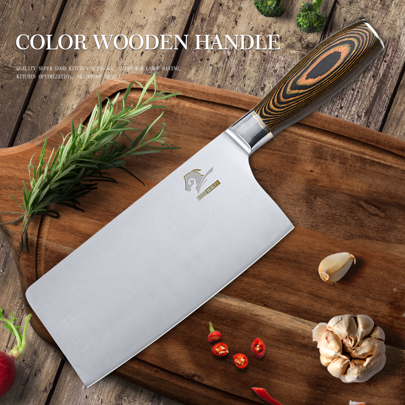 wooden handle kitchen knives cleaver knife kitchen chef knives high quality 4cr13 stainless steel wooden handle cooking knife 3393