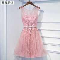 Vestido De Festa Roman Tiffan Prom Dresses Sexy Illusion Short Lace Up Banquet Party Dress Sleeveless