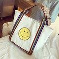 Leisure Women Handbag Big Totes Ladies Canvas Smile Face Portable Shoulder Bag Shopping School Bags New Style Bag SS0033