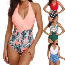 b64027eac 2019 Nova Chegada a Melhor Venda Mulheres Acolchoado Sexy Floral Lace-up de  Impressão Sem Encosto Biquíni Halter One Piece Swimw.