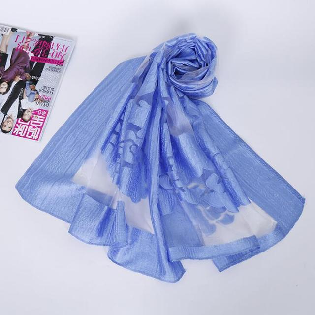 Summer Female Organza Scarf ELEGANT Sunscreen Hollow Lace  Beach Casual Shawl