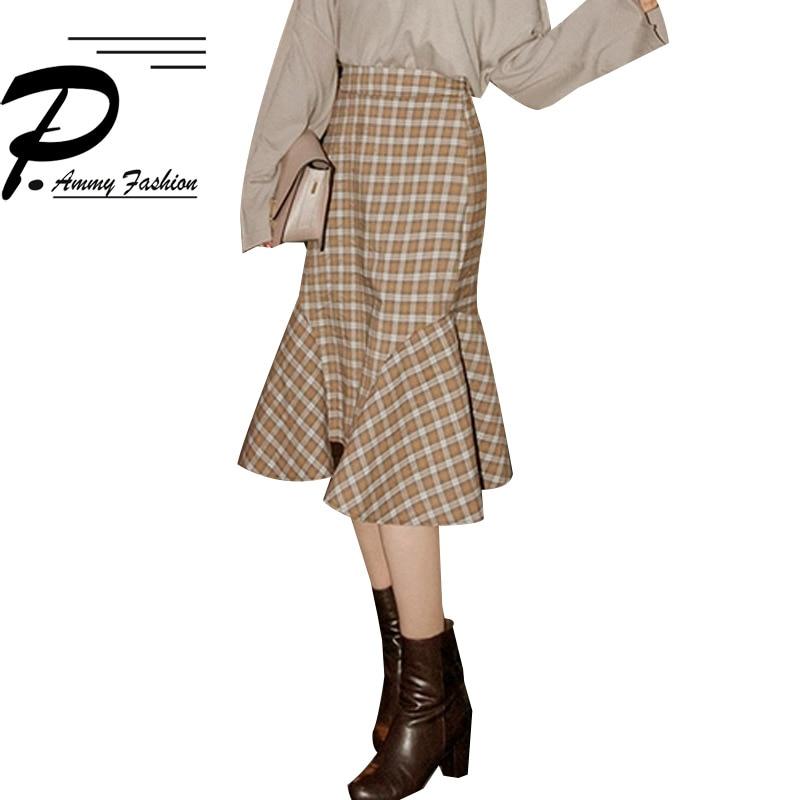 women fashion 2018 Autumn and winter new retro thick Khaki plaid Mermaid skirt bag hip skirt
