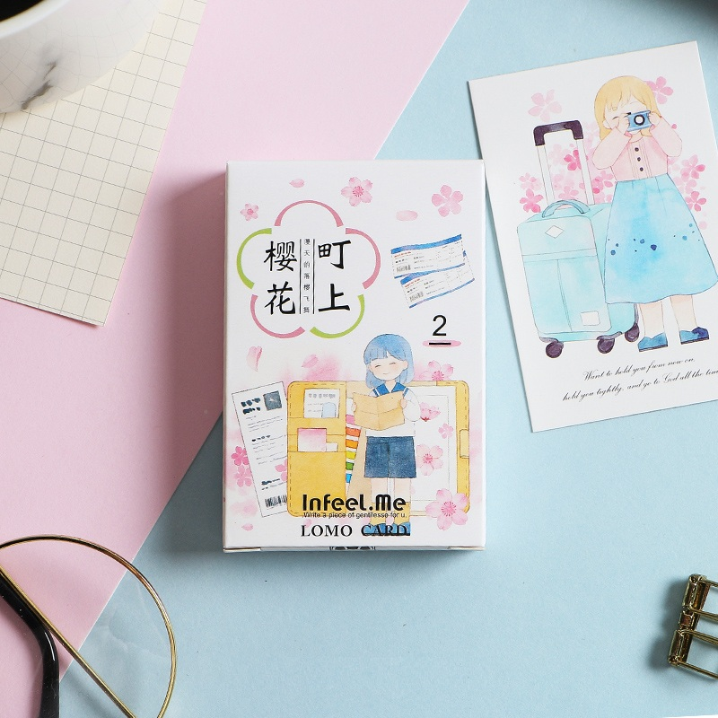 28 Sheets/Set Cherry Blossom And Girl Lomo Card Mini Postcard/Greeting Card/Birthday Gift Card