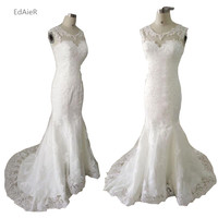 White Lace Court Train Appliques Hollow Backless Mermaid Wedding Dresses Elegant Bride Dresses Vestidos De Baratos