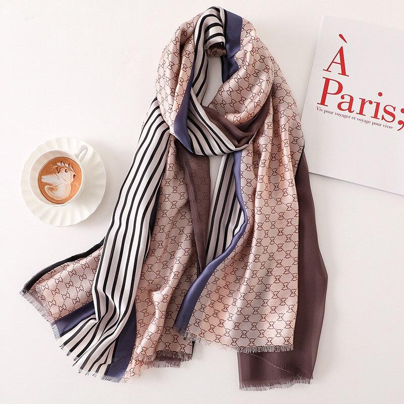 New 2019 Bandan   Scarf   Women Fashion Silk   Scarf   Luxury Women Brand Bandana   Scarves   for Women Shawl Print Hijab Double sided   Wrap