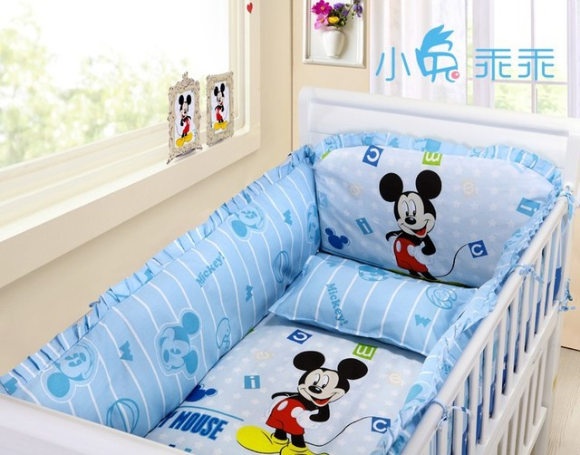 Promotion! 6pcs mickey mouse  Baby Bedding Set of Pieces Unpick And Wash Kit Bed Around (bumpers+sheet+pillow cover)