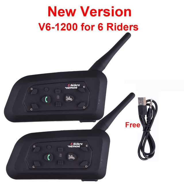 2 unids V6 Multi Interphone de BT 1200 M Casco De La Motocicleta Bluetooth Intercomunicador intercomunicador moto interfones auricular para 6 Jinete