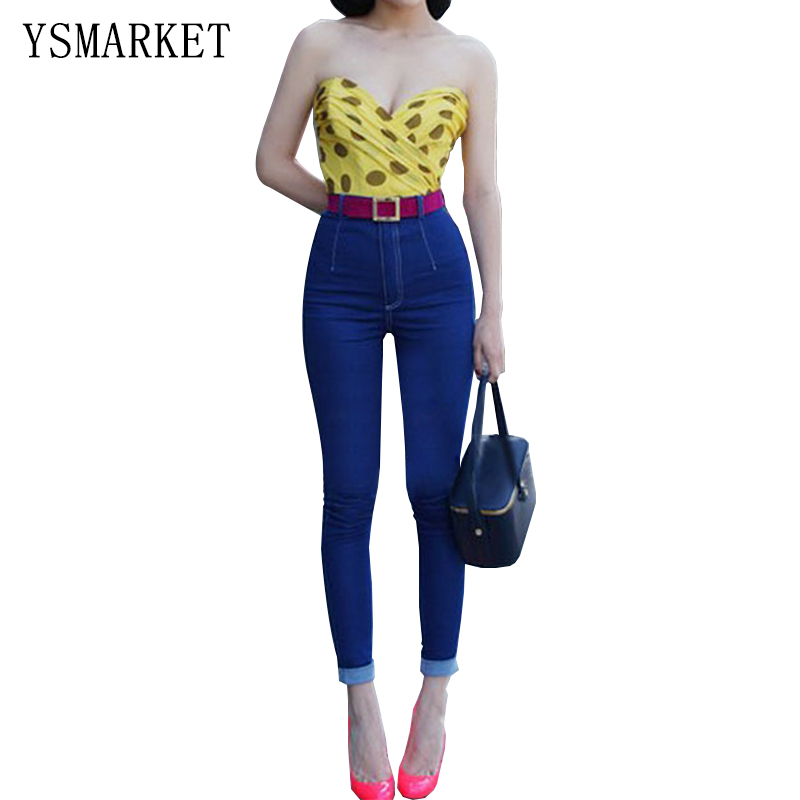 ФОТО 2017 Stretch Candy Color Solid Plus Size Jeans Navy Casual Denim Pants Woman Pencil Slim Jean Trousers S-3XL With Button e1123