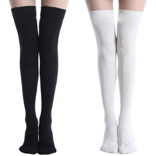 8e74948acf26b Women Cable Knit Extra Black white Long Boot STocking Over Knee Thigh High  School Girl Stocking