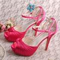 Wedopus Dropshipping Sandálias Plataforma Do Dedo Do Pé Aberto Casamento Sapatos de Cetim Fúcsia Marca