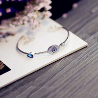 AGOOD Brand Luxury AAA Zirconia Blue Eyes Bangles Bracelet Top Quality Sterling Silver Charm Bracelet For