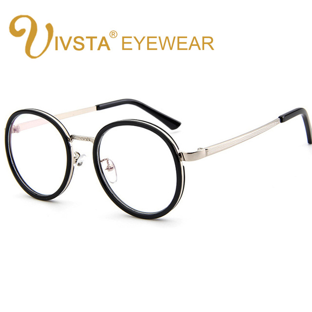 b961ab2e58a IVSTA Silver Mens Round Eyeglass Frames Demi Gold Harry Potter Candy Purple  Flower Vintage Retro Glasses