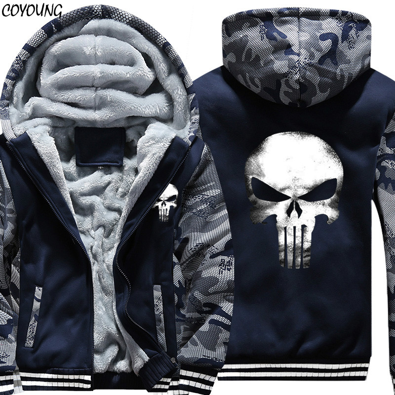 COYOUNG Brand Winter Warm The Punisher Skull Hoodies Men Camo Casual Hooded Coat Thicken Zipper Jacket Sweatshirt