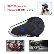 Boblov BT-S3 Motorcycle Intercom 1000M Helmet Water Resistant Interphone 3 Rider at max Headset