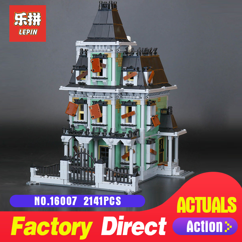 Lepin 16007 2141Pcs Monster fighter The haunted house Model set Building Blocks Model kits LegoINGlys 10228 for Christmas Gifts 2141pcs the haunted house model set building kits block toy 16007 diy monster fighter educational blocks toys for children