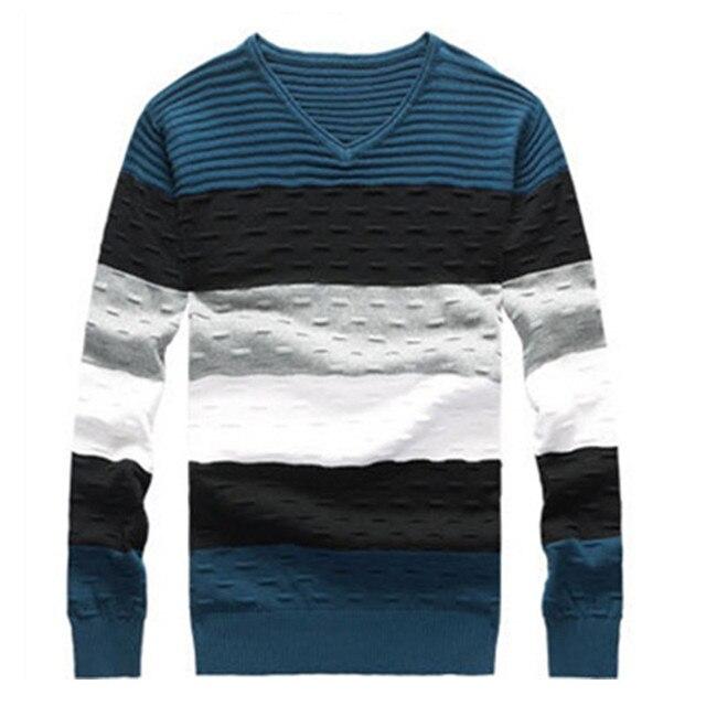 Hombre a rayas suéter con cuello en V Jumper otoño invierno de ...