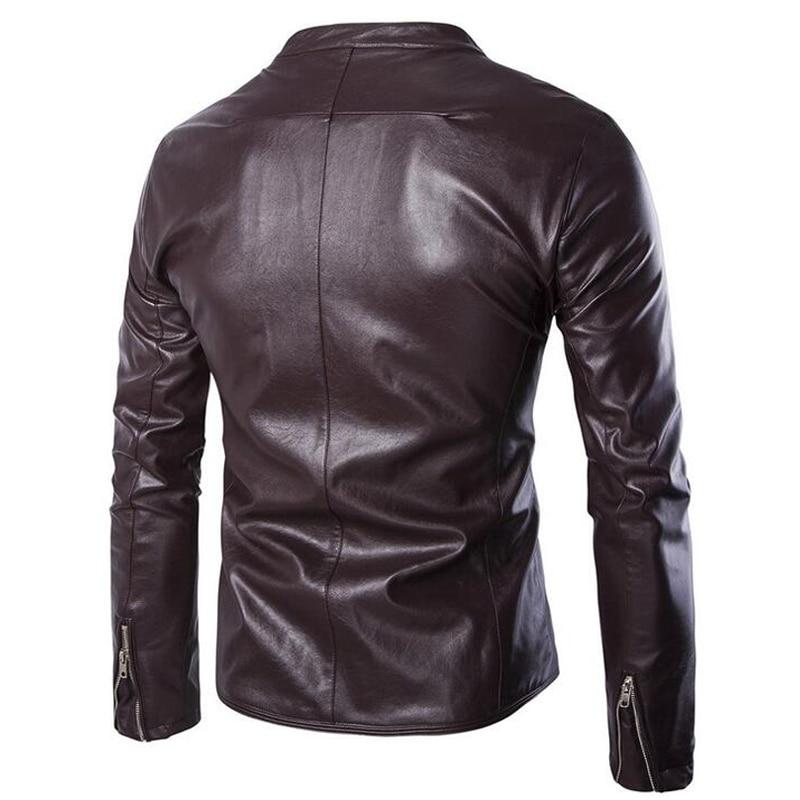 Noir Pu Nouvelle Occasionnel Style Automne Zipper Manteau En Corée Mode Solide Vestes 2016 Vente Outwear Veste Hommes Moto Cuir Mince claret HwOqdaf