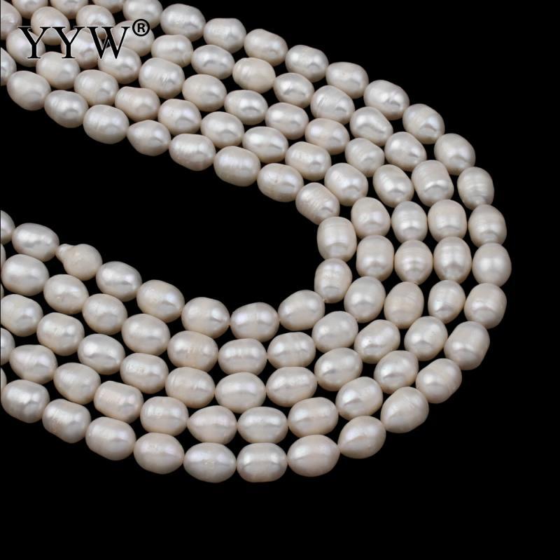 Perlen Perlen & Schmuck Machen Trendmarkierung 7-8mm Natürlichen Süßwasser Perlen Weiß Reis Perle Lose Perlen Diy Halskette Bracelat Ohrringe Schmuck Finden