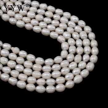 b7e6c6f47784 7-8mm perlas naturales de agua dulce perlas de arroz blanco cuentas sueltas  DIY collar Bracelat pendientes de joyería