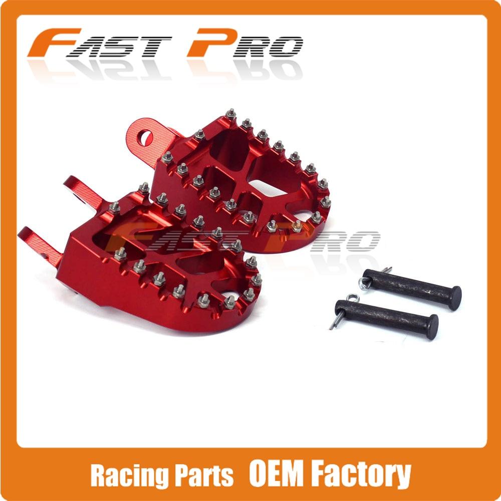 ROUGE Billet MX Large Pied Pegs Repose Pédales Repose-pieds Pour HONDA XR250 XR400 XR350R XR600R XR650L XR650R CR80 Dirt Bike