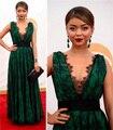 2017 Festival de Cannes vestidos de fiesta Black Lace Decote Em V Profundo aberto Para Trás Sem Encosto Longo Evening Prom Celebrity Dress Vestido Especial ocasião