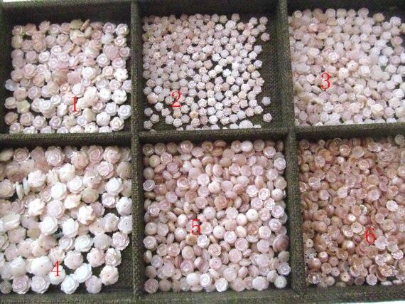 Haute qualité 50 pcs 8-15mm Rose vadrouille coquille fluoriale casquettes Rose fleur sculptée violet Rose rouge coquille perles - 5