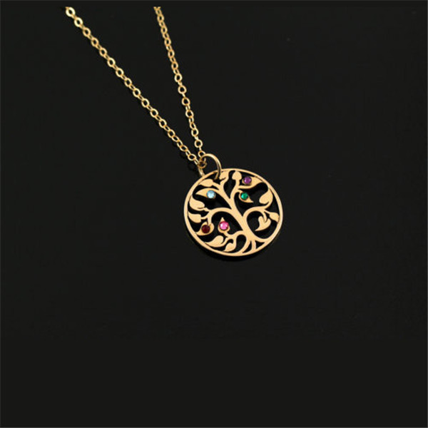 Hot Personalized Gold Fill Family Tree Pendant Unique Mom Necklace 5 Birthstones Bijoux From India