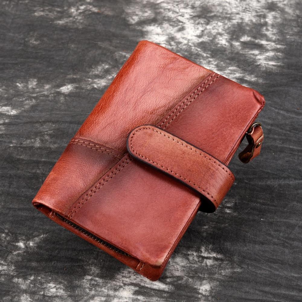 Porte-monnaie en cuir véritable pour hommes, pochette de bonne qualité, court, porte-cartes rétro multi-cartes, pochette décontractée, nouveau