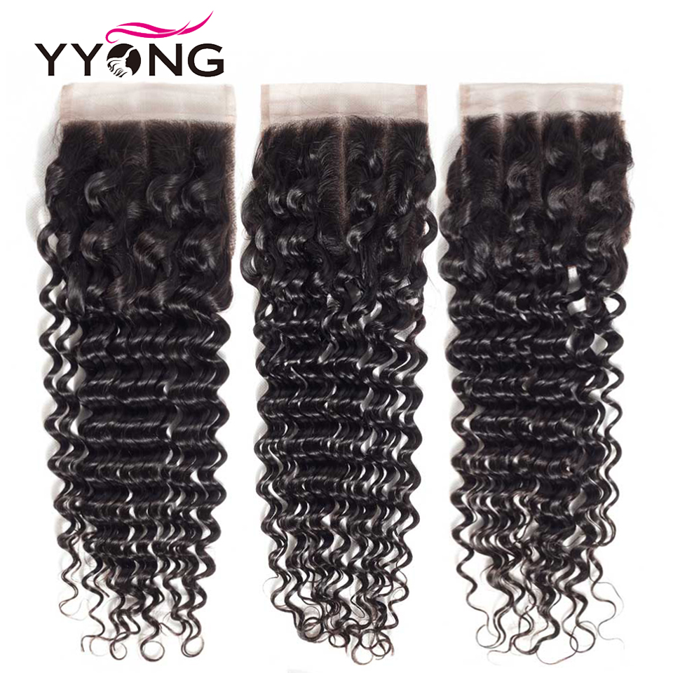 Yyong Brazilian Deep Wave Closure 4*4 Swiss Lace Free/Middle/Three Part Remy Human Hair Natural Color Free Shipping 8-22 Inches