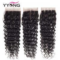 Yyong brésilien vague profonde fermeture 4*4 dentelle suisse gratuit/moyen/trois parties Remy cheveux humains couleur naturelle livraison gratuite 8-22 pouces