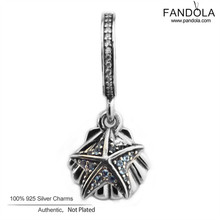 Authentic 925 Sterling Silver Tropical Starfish & Sea Shell Dangle Charm Bead Fit Original Bracelet DIY Beads for Jewelry Making