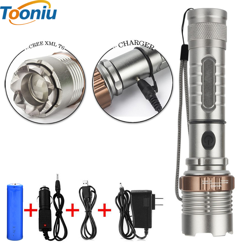 LED Cree XM-L T6 4000LM Powerful Self Defense Tactical LED Rechargeable Flashlight Torch Light for AAA or 1x18650 Battery