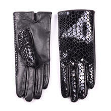 New Womens Ladies 100% Genuine Leather snake print leather Winter thin-lined Short Gloves