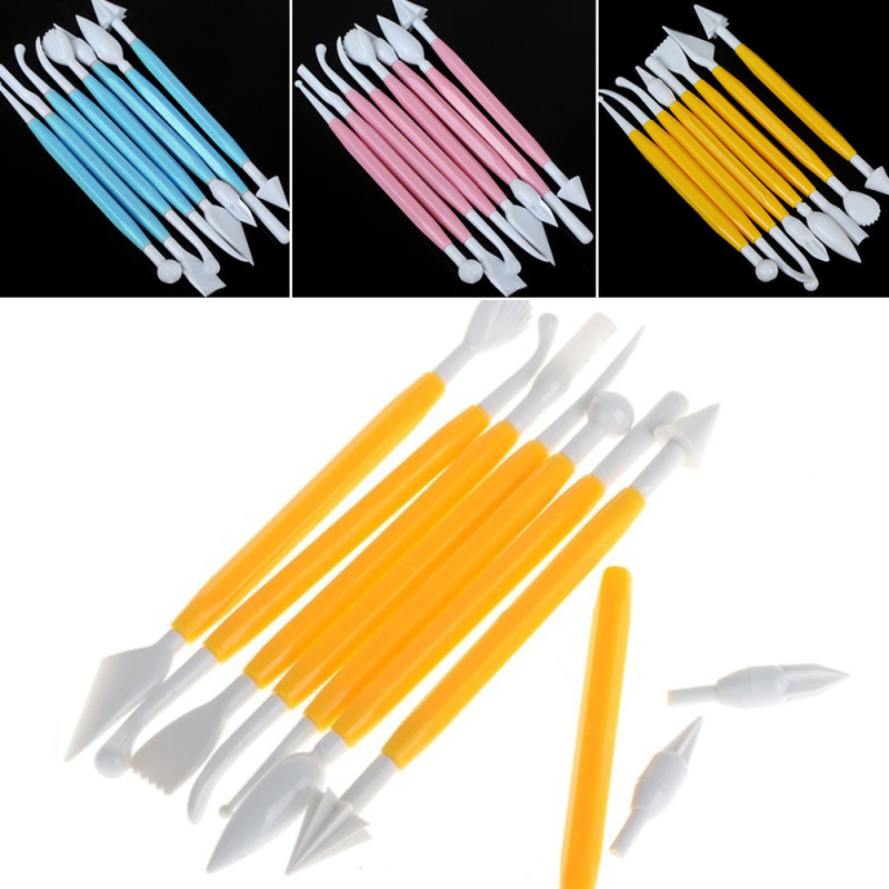 DIY Plastic Baking Craft Tool 8pcs/Set Sugar Craft Fondant Cake Pastry Carving Cutter Chocolate Decorating Flower Clay Shaping