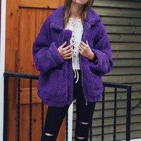 Autumn Winter jacket 2018 Women outwear & coats female Faux lambswool Big size Women Loose Lapel basic jackets Womens jacket