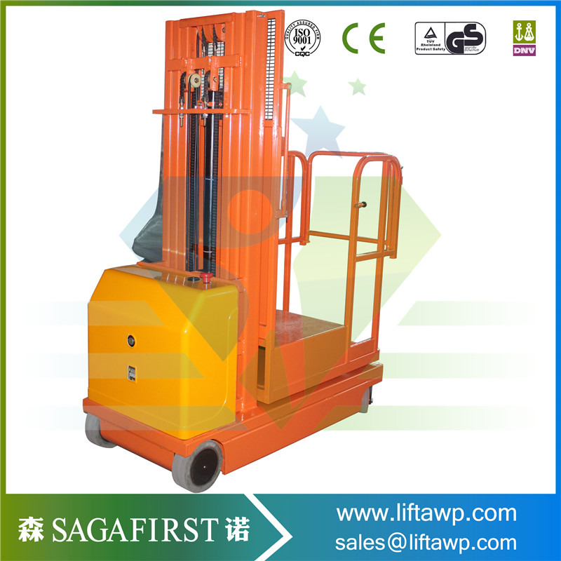 Self Propelled Hydraulic Order Picker 4M Warehouse Use Full Electric Aerial Hydraulic Lift