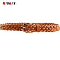 Fashion Hot Sale Cow Skin Belts Women Braided Strap Genuine Leather Woven Belt Thin Waistband Luxury