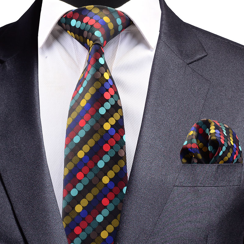 GUSLESON New Design Silk Jacquard Woven Men Tie Fashion Plaid Striped Dots Necktie Handkerchief Set For Party Wedding