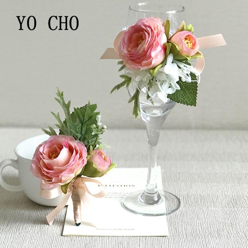 YO CHO Silk Rose Flowers Wrist Flowers Bride Groom Ribbon Wedding ...