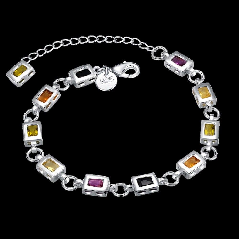 Wholesale fashion jewelry , 925 sterling silver women's square color stone bracelet silver lobster-style buckle bracelet